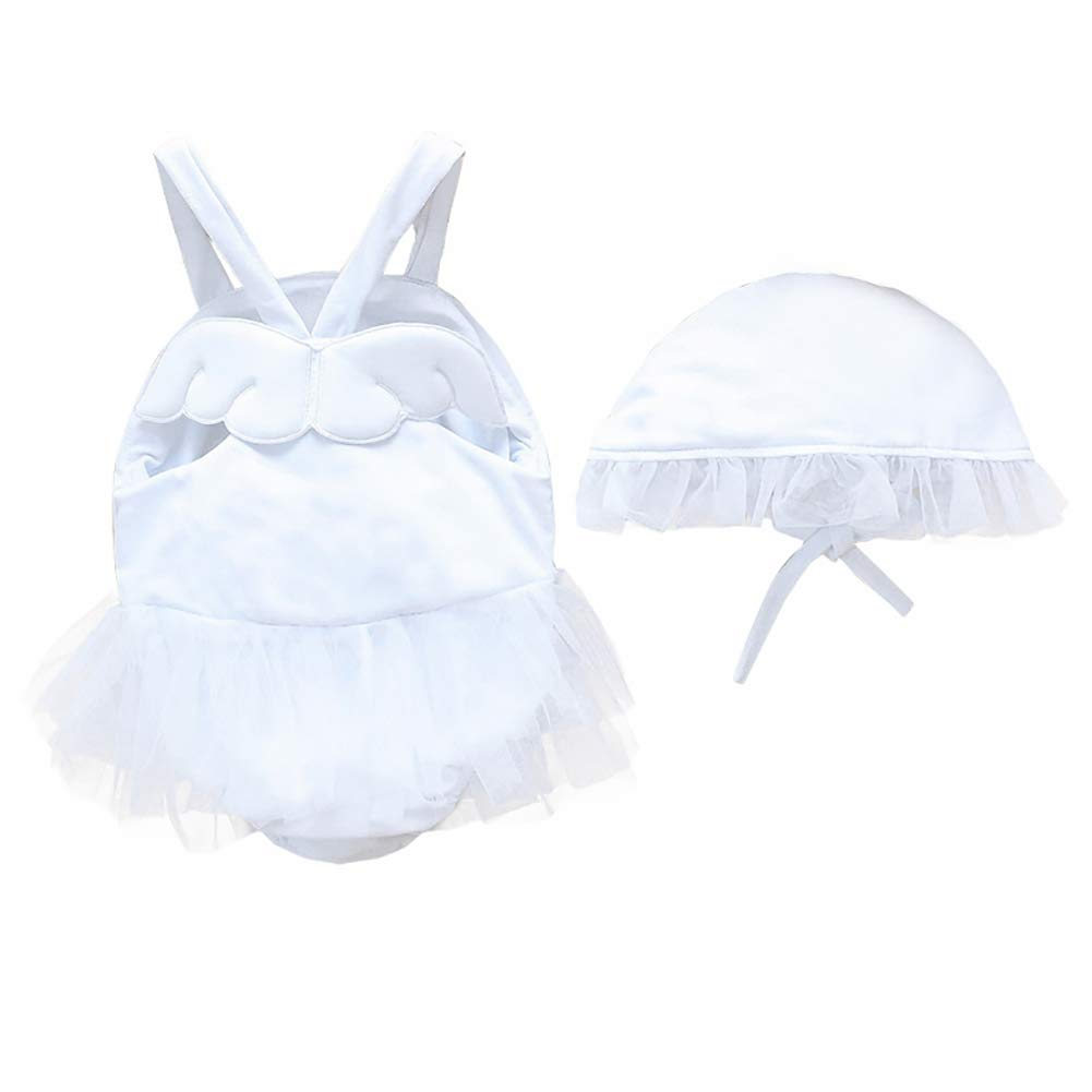 Baby Girl Swimwear and Hat 2 Pieces Set One-Piece Swimsuit Princess Skirt Cute Angel Wing Bathing Suit (White, 12-18Months)