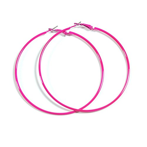 NEON HOT PINK Hoop Earrings 50mm Circle Size - Bright Flourescent, Vibrant Colors ()