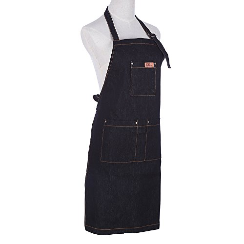 AliceInter Simple Antifouling Denim Kitchen apron Unisex Woman Men's Male Lady's Cooking Restaurant Barista work apron Pinafores Tablier (Black)