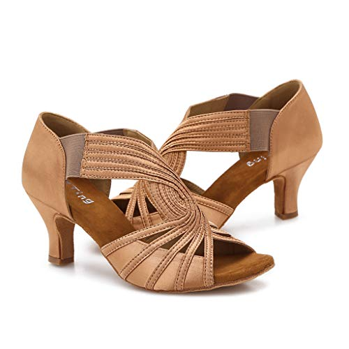 Ballroom Dance Shoes Women Latin Salsa Practice Dancer Shoes 2.5'' Heels YT02(6, Tan) -