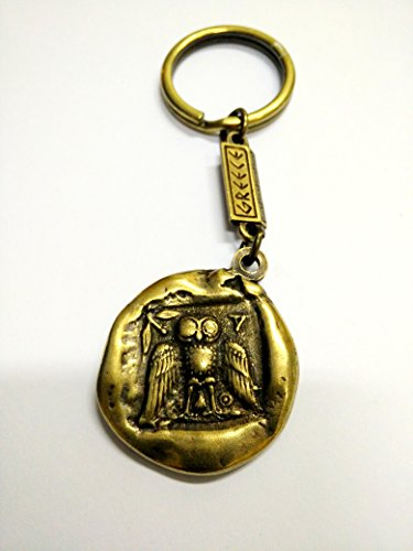 Athenian Two Sided Keyring with Goddess Athena and the Owl of Wisdom