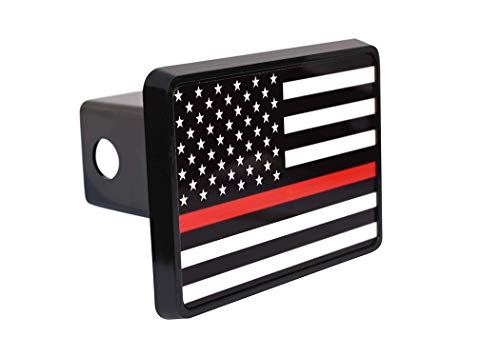 Best Prices! Rogue River Tactical Thin Red Line Flag Trailer Hitch Cover Plug US Firefighter Fire Fi...