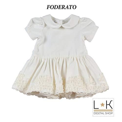 MINIBANDA Neonata Elegante in Bianco Velluto F630 Abito XwXHqr7