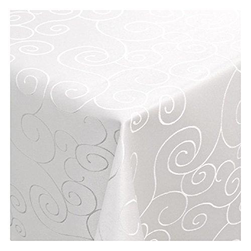 Damast Tischdecke Tafeltuch Ornamente Design 130cm x 280cm in Weiß