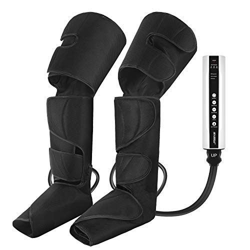 CINCOM Leg Air Compression Massager for Foot Calf Thigh Upgrade Leg Wraps with Portable Handheld Controller and 2 Extensions- 3 Modes & 3 Intensities (Black)