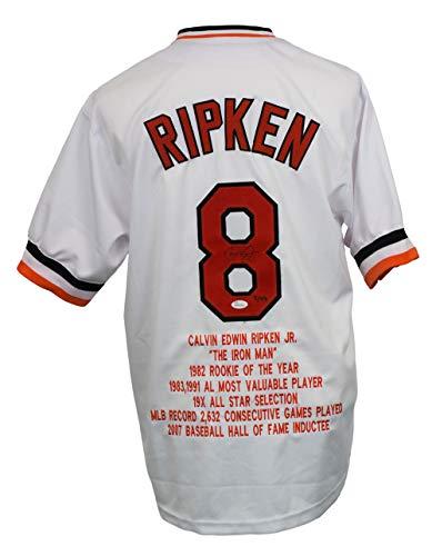 Jr Cal Ripken Stats (Cal Ripken Jr Signed White Iron Man Baseball Stat Jersey JSA)