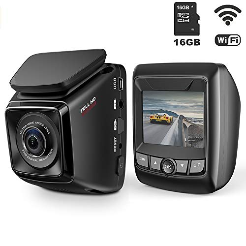 Dash Cam FHD 1080P Car DVR with WiFi and 6-Lane 170° Wide Angle Lens, Dashboard Camera Recorder with WDR, Loop Recording, G-Sensor Include 16GB Memory Card -