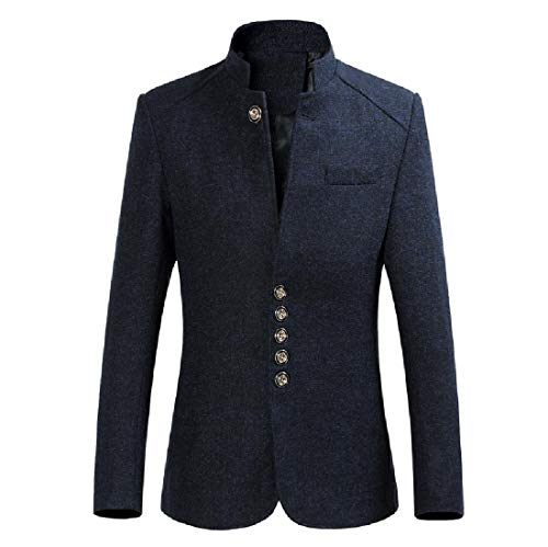 SportsX Mens Outwear Single Breasted Mandarin Collar Suit Jacket Blazer Navy Blue XL