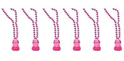 "Beistle 54634 6 Pieces Necklaces - Beads with Willie 1 oz Shot Glass, 33"", Pink/Cerise"