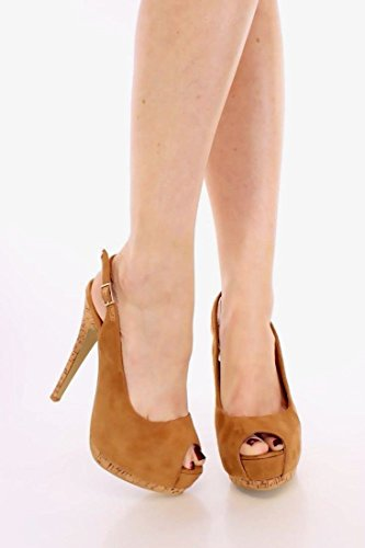 Peep Toe Slingback Simili Daim Plate-forme Cales Femmes Pompes Plate-forme Talons Hauts Camel Beige