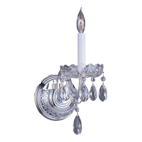 Sconce Crystal Bellacor (Crystorama 1031-CH-CL-MWP Crystal One Light Wall Sconce from Traditional Crystal collection in Chrome, Pol. Nckl.finish, 8.00 inches)