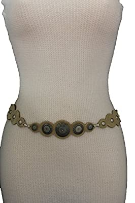 TFJ Women Skinny Fashion Tie Belt Hip High Waist Fringes Faux Suede Ivory Bone M L Xl