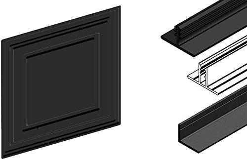 CeilingConnex - Complete Ceiling Kit including 2'x2' Ceiling Tiles and Direct Mount Ceiling Grid Kit - Black - Sample Kit