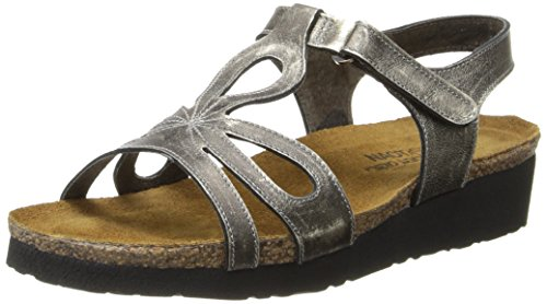 Naot Women's Rachel Wedge Sandal, Metal Leather, 40 EU (9-9.5 B(M) US Women) by NAOT