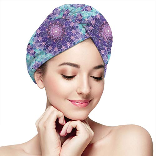 Quick Dry Hair Wrap Towels Turban,Geometric Mosaic Fractal Ethnic Sign Of Universe Graphic Art,Absorbent Shower Cap (Pub At The End Of The Universe)