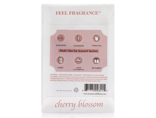 Cherry Blossom Scented Sachet for Drawers and Closets - Feel Fragrance Sachets, Lot of 8 (Cherry Blossom)