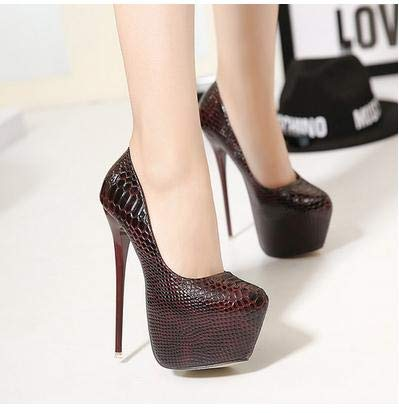 78c637cfd1a Amazon.com: Snakeskin Pumps 16 cm High with Club Heels high-Heeled ...