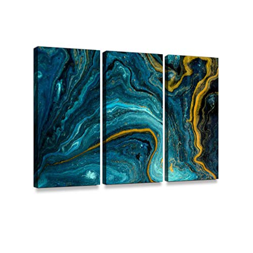 - Marble Abstract Acrylic. Blue marbling Artwork Texture. Agate Ripple Pattern. Gold Powder. Print On Canvas Wall Artwork Modern Photography Home Decor Unique Pattern Stretched and Framed 3 Piece