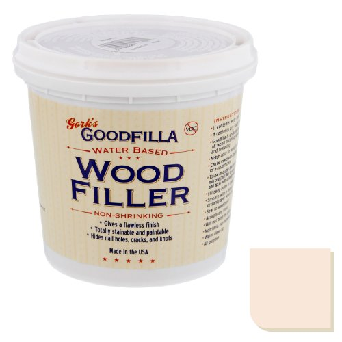 Water-Based Wood & Grain Filler - Base/Neutral - 1 Quart by Goodfilla | Replace Every Filler & Putty | Repairs, Finishes & Patches | Paintable, Stainable, Sandable & Quick Drying