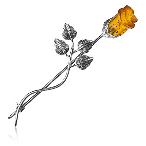 Amber Sterling Silver Classic Flower Rose Pin