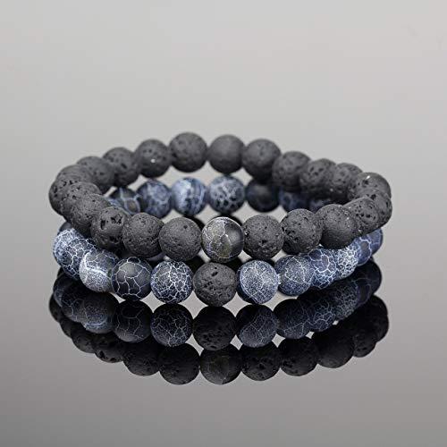 8d672c4f21a65 Soul Statement Lava Beads Friendship Bracelets: Beaded Unisex Bracelet Set  (2 Pack Dark Blue Black)