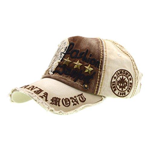 Brief-Flecken-Nieten beiläufigen Baseball Cotton Cap & Modische Outdoor-Hut für Männer und Frauen-beige, iParaAiluRy