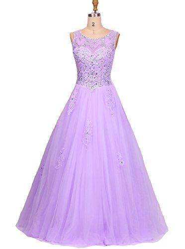 Bessdress Cou Perles Pure Robes De Bal Dentelle Robe De Quinceanra Appliques Balle Bd247 Violet