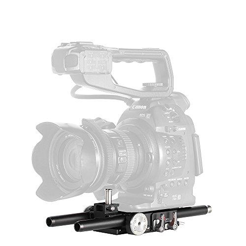(JTZ DP30 15mm Rail Rod Base Plate,Arri teeth, for Camcorder,Video Camera, DSLR Camera, Canon EOS C100 C300 C500 Mark II Sony FS5/7,Blackmagic URSA Mini,etc)