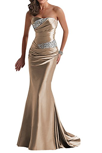 Yougao Women's Floor Length Strapless Evening Party Bridesmaid Dresses Gold US 6