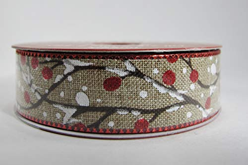 Holiday Linen Ribbon Snow Covered - Glitter accented with Branches Holly Berries 7/8