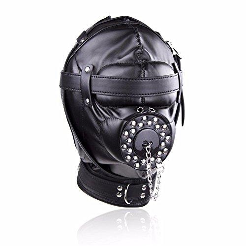 FaLaiDi Leather Eyes with Zipper Helmet Adult Creative Windproof Helmet Cosplay Hood Halloween Party Mask