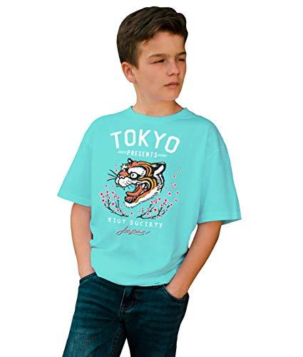 (Riot Society Tiger Head Blossom Boys Tee - Mint, Large)