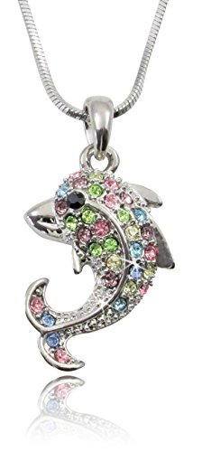 Small Silver Tone Dolphin Necklace with Colorful Pink, Blue, Yellow Green, Clear Rainbow Embellished Crystals