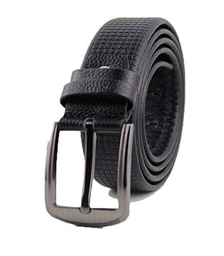 - SED Men Belts Lattice Embossing Casual Needle Buckle Belt Boy Men's Atmospheric Fashion Ornaments Waist Belt,Black,120Cm