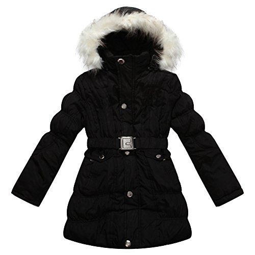 Richie House Girl's Padded Winter Jacket with Belt and Faux Fur Hood RH0784-D-11/12