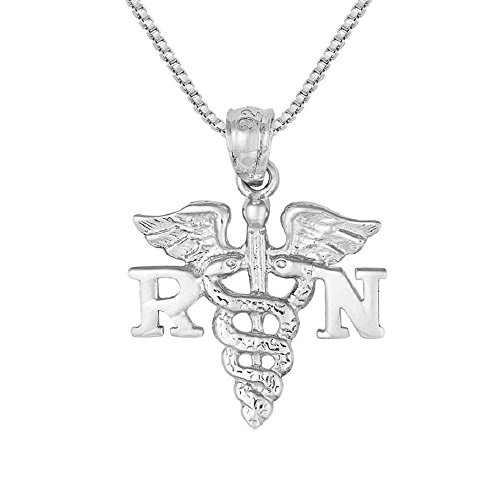 Sterling Silver RN Registered Nurse Charm / Pendant, Made in USA, 18