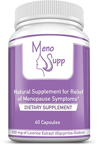 Menosupp- Menopause Supplements for 100% Natural Menopause Relief of Symptoms - Hot Flashes, Night Sweats, Mood Swings, Vaginal Dryness - Licorice Root Extract in Vegetable Capsule for Menopause Support ()