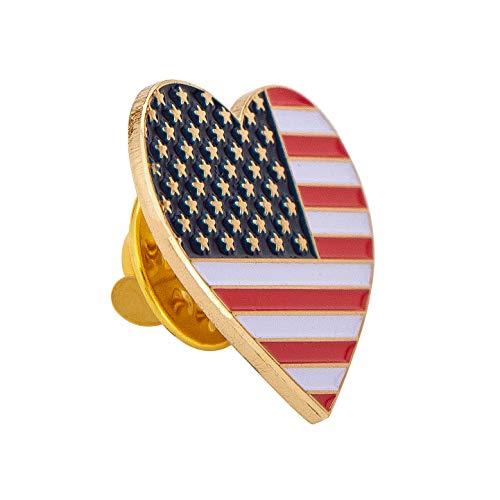 - USA Flag in Heart Lapel Pin Enamel Made of Metal Souvenir Hat Men Women Patriotic (USA Flag Inside Heart Pin)