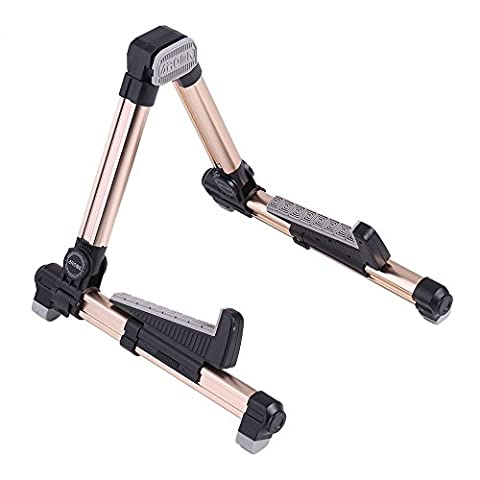 ammoon AROMA AGS-08 Universal String Instrument Guitar Stand Folding Adjustable Aluminum Alloy A-Frame for Banjo Acoustic Electric Classical Guitar Ukulele Bass Mandolin