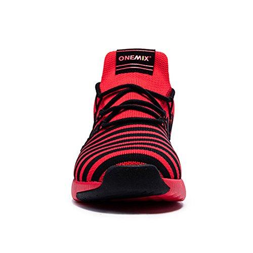 Onemix Maschile E Femminile Scarpe Da Jogging Scarpe Da Ginnastica Da Passeggio Nero Rosso In Esecuzione