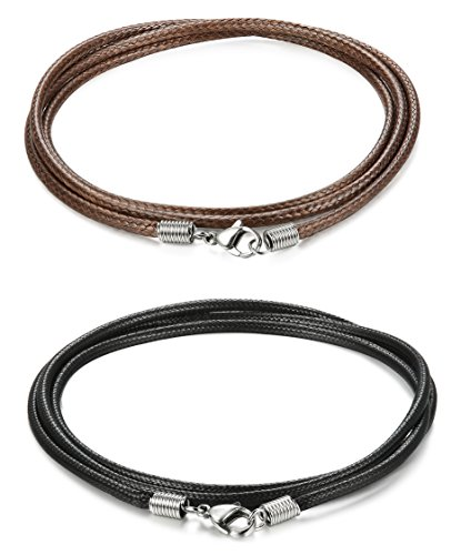 ORAZIO 2Pcs 3mm Woven Braided Necklace Cord Rope Necklace for Men Women 30 Inches