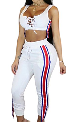 Papijam Womens Lace Up Eyelet Low Cut Crop Top+Jogger Pants Set Outfit White (Eyelet Crop Pants)