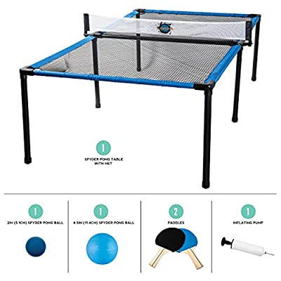 Franklin Sports SypderPong Tennis - Table Tennis, Volleyball and 4-Square Outdoor Game - Indoor or Outdoor Game for Kids - Includes Net, Table, Paddles and Ball: Sports & Outdoors