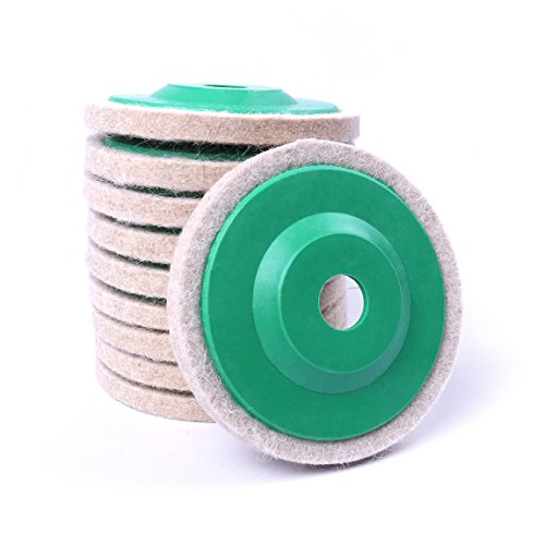 Atoplee 10pcs Diameter 100mm Wool Buffing Polishing Wheel Pad Buffer Disc Bore Dia (Angle Grinder Disc)