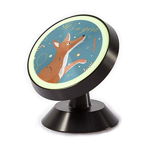 (Car Phone Mount Magnetic Cute Fox Baby Girl Birth Announcement Phone Holder for Car Rotatable Dashboard Phone Holder Cradle Compatible All Smartphones)