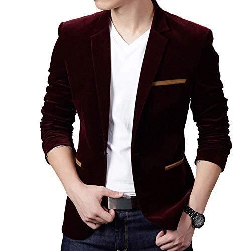 Giacche A Maniche Giacca Lunghe Business Elegante Bavero Uomo Da Moderna Leisure Burgunderrot Casual Fit Suit Slim q8Yqz