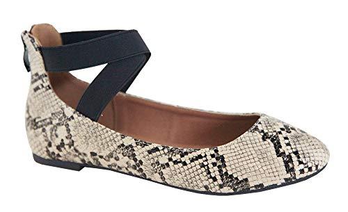 ANNA Dana-20 Women's Classic Comfortable Ballerina Flats with Elastic Crossing Strap (6, Python Snake)