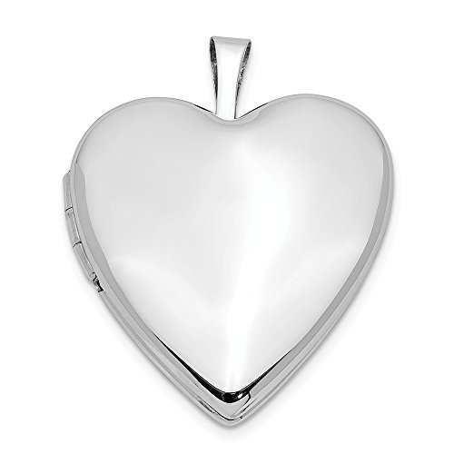 Solid 14k 20mm White Gold Plain Polished Love Heart Locket Pendant (25mm Height x 20mm Width)