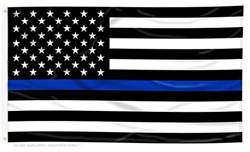 Pointview Flags Thin Blue Line American Flag - Thin Blue Line USA - Bright and Vivid Color, Double Stitched - Honoring Law Enforcement Officers - 3 x 5 ft with Grommets (American Flag Black And White Blue Stripe Meaning)