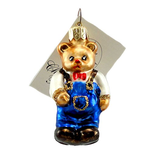 Christopher Radko CUBBY COVERALLS Glass Ornament Teddy Bear ()